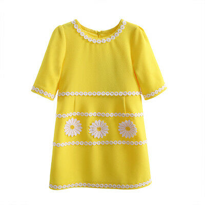 Girls Yellow Shift Dress Kids Daisy Floral Short Sleeve Summer Party Holiday