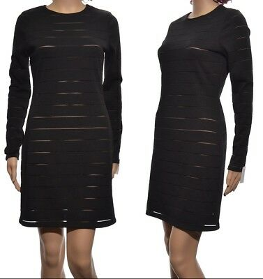 d2172da6f1c2 TOPSHOP BLACK STRIPED Bodycon Dress LBD Long Sleeved Womens Size 12 ...