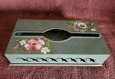 "VTG.""NASHCO PRODUCTS"" Handpainted/Metal Kleenex Box Holder;11 3/4"" x 2"" x 5 3/4"""