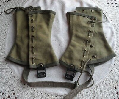 Vintage Official Leggings Spats Boy Scout America M olive drab green lace canvas