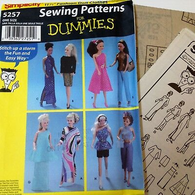 Barbie Fashion Dolls Clothes - Simplicity 5257- New Factory Folded Uncut Pattern