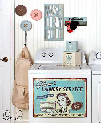 Retro Vintage Inspired Laundry Room Accent & Decor Magnet, Wall Basket, Buttons