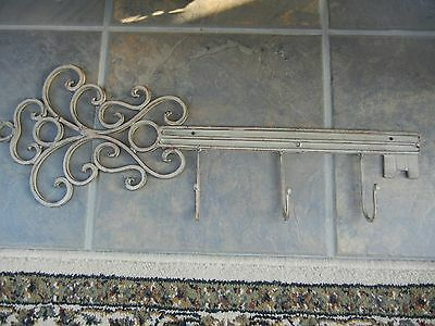"Antique Style Large 22"" Gray/Brown Trim Iron Key Shaped Key Wall Hanger 3 Hooks"