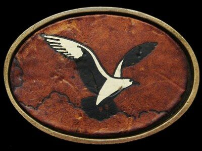 JE27115 VINTAGE 1970s **SEAGULL** PAINTED ON LEATHER BRASS BELT BUCKLE
