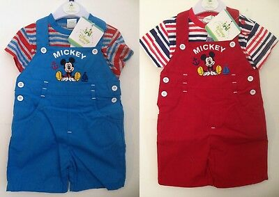 Baby Boys Disney Mickey Mouse Outfit T-shirt Overall Summer Set Age 3-24 months