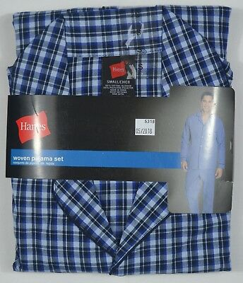 Hanes #5318 NEW Men's Multi-Color Plaid Long Sleeve and Pant Woven Pajama Set