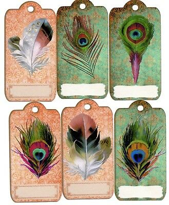 12  LARGE Handmade tags toppers - PRETTY FEATHERS - vintage style 9.5cm x 5cm