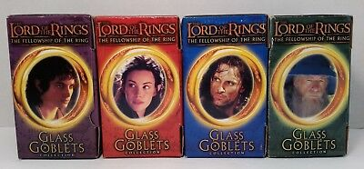 Complete set of 4 Lord of the Rings Light Up Glass Goblets Complete NIB 2001