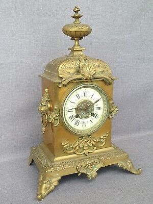 Antique french clock made of bronze 19th century signed Japy lions with key