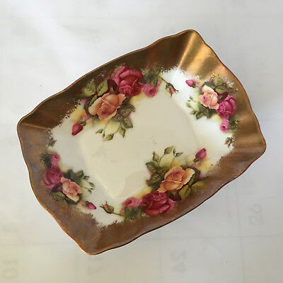 "HEAVY GOLD ROYAL CHELSEA GOLDEN ROSE RECTANGULAR BOWL 4"" by 5.5"" by 1.25""t"