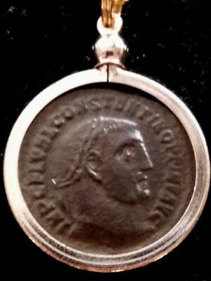 Constantine Great LARGE RARE Genuine AE2 Ancient Roman Coin High-Relief Pendant