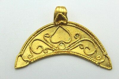 Ancient Roman Age Lunula: Moon Crescent Pendant. Solid Gold! Fantastic!     2V95