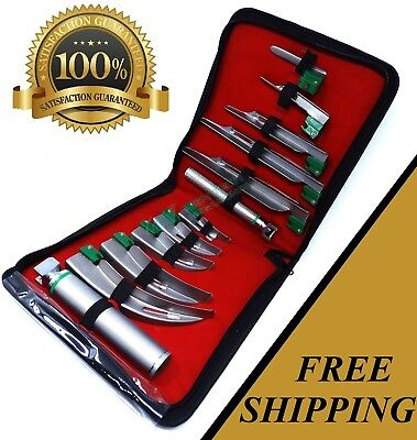 SET OF 10 FIBER OPTIC MAC & MILLER LARYNGOSCOPE BLADE+2 HANDLE INTUBATON kit