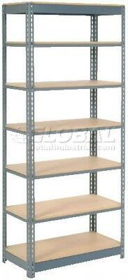 Heavy Duty Shelving 36'W X 18'D X 84'H With 7 Shelves, Wood Deck
