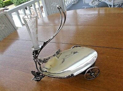 antique VICTORIAN SILVERPLATE EPERGNE CENTERPIECE SERVING DISH BUTTERFLY