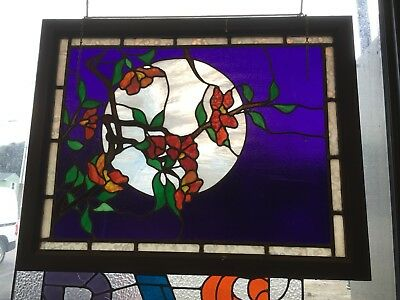 Artisan Made Cherry Blossom Stained Glass Window ---- lEaDed aNtIqUe vIcToRiAn