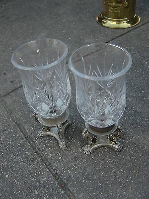 Pair of Vintage Godinger Silver Art Co Pedestal Base Crystal Candle Holder 10""