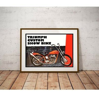 "Large Size 24""x32"" Triumph Custom Show Bike Poster - 1960's Box Art"