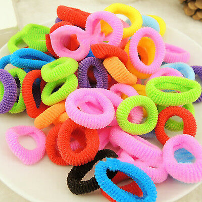 100 Colored Elastic Hair Bands Rope Ponytail Holder For Baby Girl Children Kid F