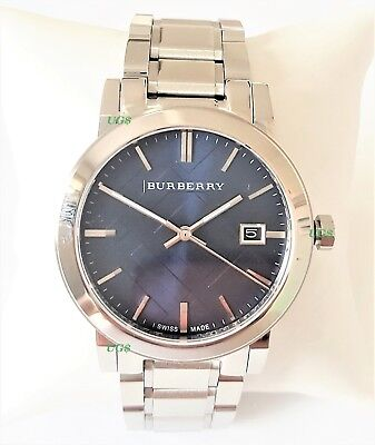 Burberry Men's Watch Silver Case Stainless Steel Band Slim BU9031 Genuine Blue