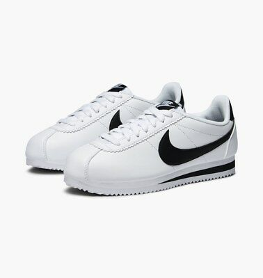 WOMEN S NIKE CLASSIC Cortez Leather 807471-101 White Black Size 10 ... 65fc98687