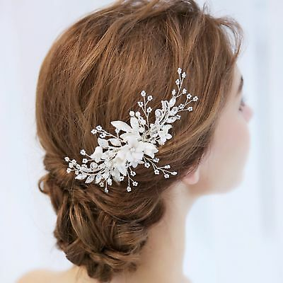Bridal Hair Comb Pearl Crystal Headpiece Hair Clip Wedding Accessories 02294 S