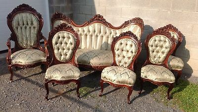 J.h. Belter Rosewood Laminated Rosalie With Grapes 6 Piece Parlor Set