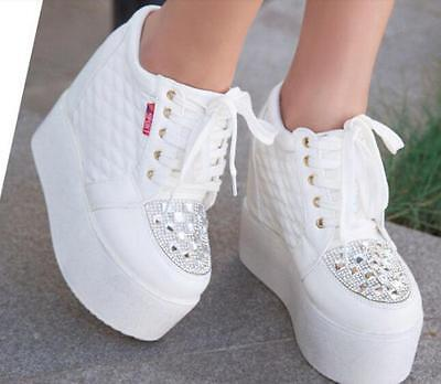 51a5353a77bc Womens Lace Up Platform Creeper Rhinestones Hidden Wedge Heel New Sneakers  Shoes