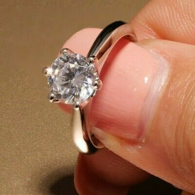 2 Ct Round Cut Diamond Solitaire Engagement Ring 14K White Gold Solid