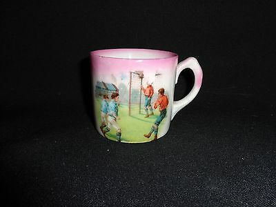 Antique 19th.c China Transfer Decorated Child's Mug, Boys Playing Soccer