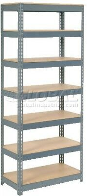 Extra Heavy Duty Shelving 36'W X 18'D X 84'H With 7 Shelves, Wood Deck