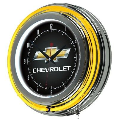 14 in. Chevy Neon Wall Clock Chrome Ring Polished Finish Analog Round Indoor