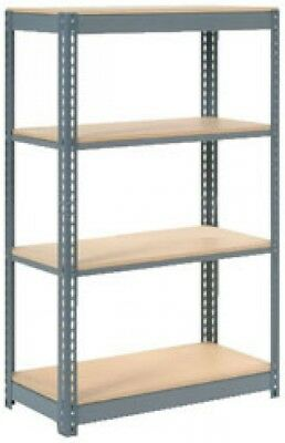 Heavy Duty Shelving 48'W X 24'D X 60'H With 4 Shelves, Wood Deck