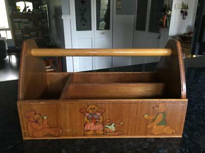 VINTAGE WOODEN CHILDS CARRY ALL /UTILITY BOX with HANDLE  COLLECTABLE  - BUY NOW
