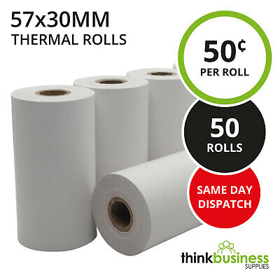 50 x Premium 57x30mm Thermal Paper EFTPOS Rolls for Tyro Xentissimo Yoximo