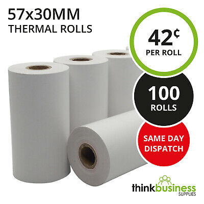 100 x Premium 57x30mm Thermal Paper EFTPOS Rolls for Tyro Xentissimo Yoximo