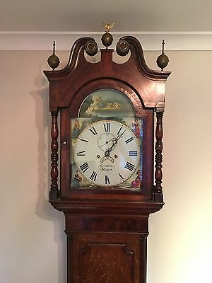 Antique 8 Day oak & Mahogany Grandfather Clock  Joseph Whiston Newport