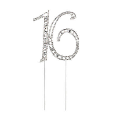 Cake Topper for 16th/18th/50th/60th Wedding Anniversary/Birthday Party Silver
