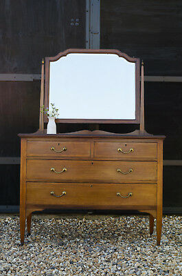 Antique Edwardian Mahogany Satinwood Inlaid Dressing Table with Drawers & Mirror