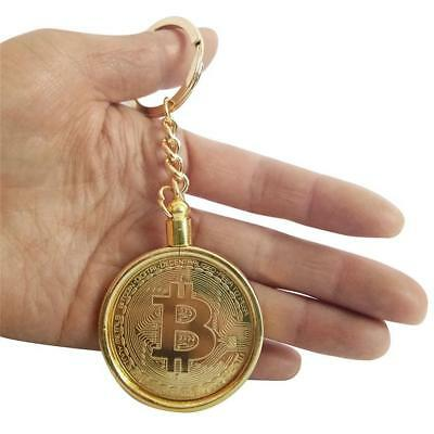 Metal Keychain BTC Coin Art Gold Plated Bitcoin Commemorative Collectible Gift