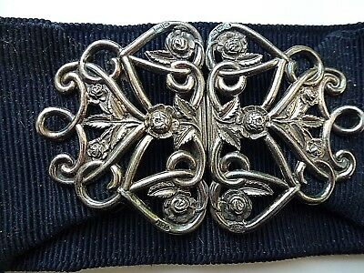 Chester Hallmarked  for 1903 Silver Nurses Buckle on Petersham Belt