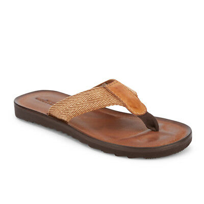 Lucky Brand Mens Aiden Woven Flip-Flop Thong Leather Lined Footbed Sandal Shoe