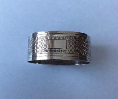 Antique Vintage 1954 Solid Silver Napkin Ring With Blank Cartouche By John Rose.