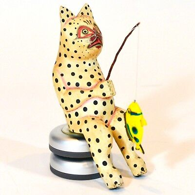 VTG Hand-Carved & Painted Wood SPOTTED Fishing CAT w/Pole & Fish from Bali