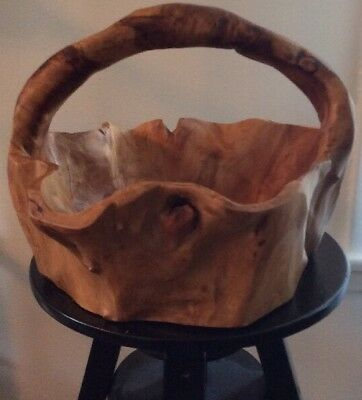 Large Natural Hand Carved Burl Wood Root Bowl Basket Birdseye MCM RETRO AWESOME