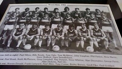West Ham United Team Squad 1985.