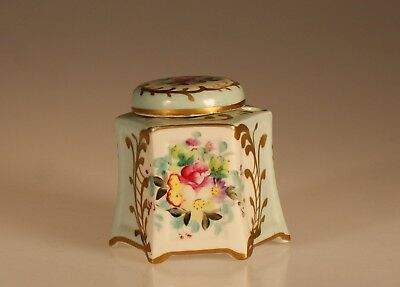 Antique Victorian Hand Painted Pale Blue Floral Hexagon Ink Well, France c. 1890