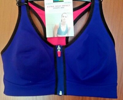 b79e9ec4cbfc7 M S BLUE front zip extra high impact non-wired sports bra - 36D BNWT ...