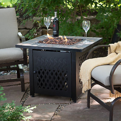 Good Outdoor Fire Pit Table Propane Gas Backyard Patio Deck Fireplace Heater New  Sale