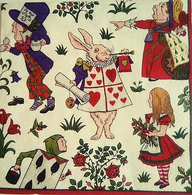 Paper Napkins,4 for Decoupage, Alice in Wonderland.Servilletas papel decoupage.